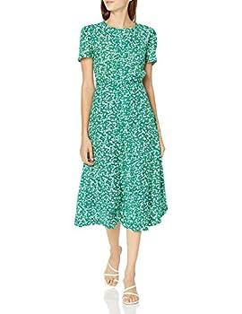 Lucky Brand Women s Short Sleeve Scoop Neck Scalloped Hem Penelope Dress Green Multi S