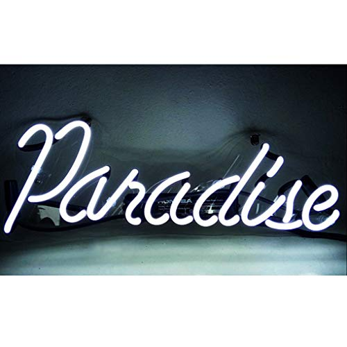 Cartel de neón Paradise, Familia, Dormitorio, Bar, Hotel, decoración del hogar, dormitorios, bares de cerveza, bares, hoteles, tiendas, restaurantes, signos de pared, letrero luminoso (Blanco)