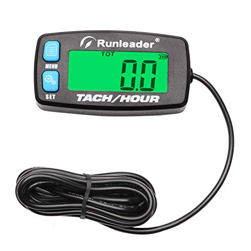Backlight Digital Tach Maintenance Hour Meter LCD Self Powered Tachometer for 2 or 4 Stroke Gas Engine RC Toys PWC ATV Motorcycle Marine Chainsaw Tractor Lawnmower (Blue)