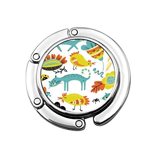 Niños dibujando Animales Lindos Percha para Monedero Perchero portátil para niñas diseños únicos Gancho de Almacenamiento de sección Plegable