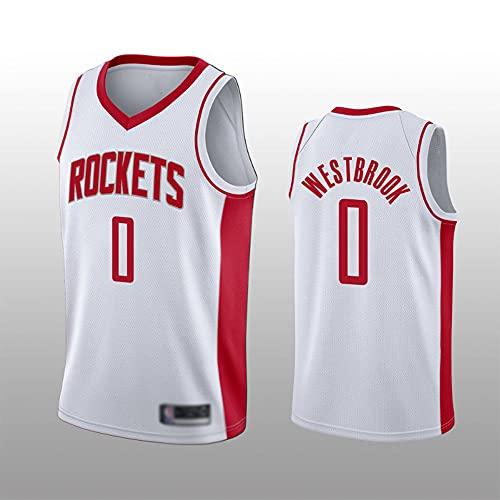 Wo nice Jerseys De Baloncesto para Hombres, Houston Rockets # 0 Russell Westbrook Uniformes De Baloncesto De La NBA Casual Y Cómodo Chaleco Tops Camisetas Sin Mangas,Blanco,XXL(185~190CM)