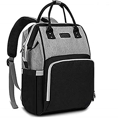 Diaper Bag Backpack Nappy Bag Upsimples Baby Bags for Mom and Dad Maternity Diaper Bag with USB Charging Port Stroller Straps Thermal Pockets,Water Resistant, Black Grey
