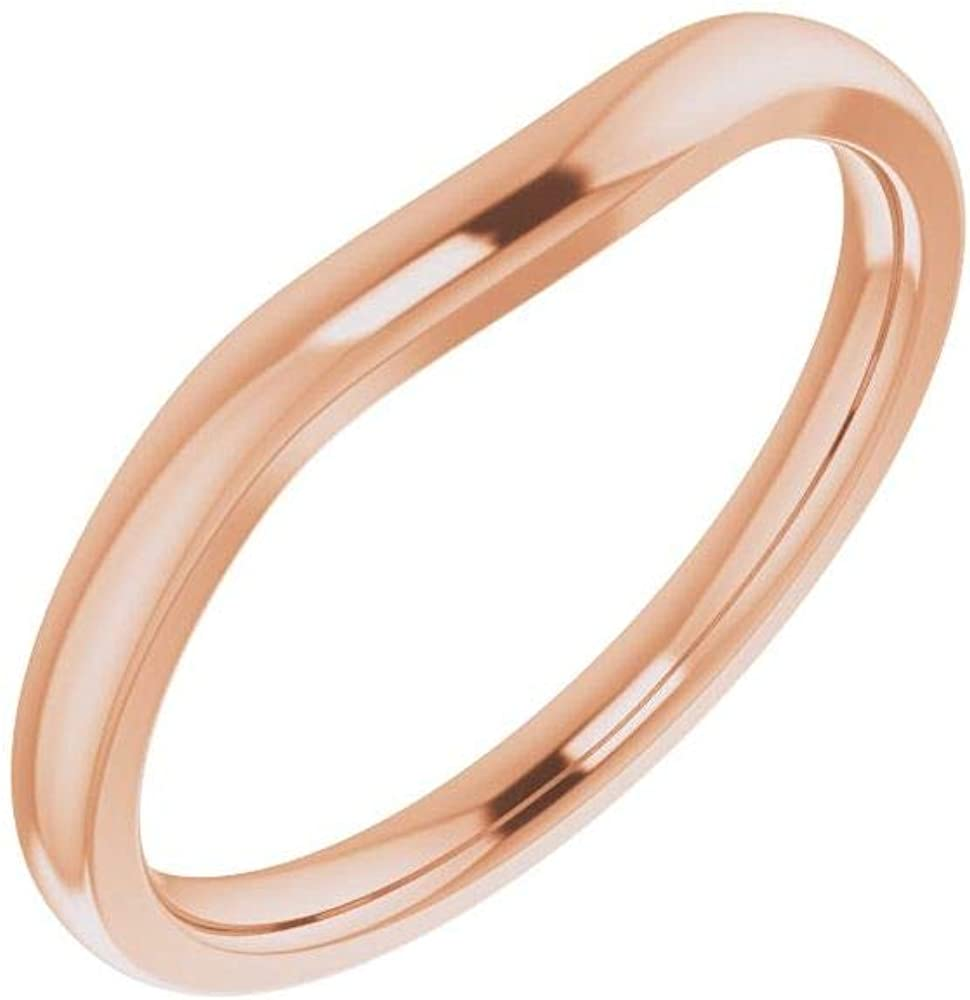 Solid Trust 18k Reservation Rose Gold Matching Curved Band 9x7 Notched Wedding for