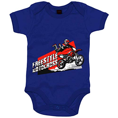 Body bebé Motocross Freestyle Superman Jump - Azul Royal, 12-18 meses
