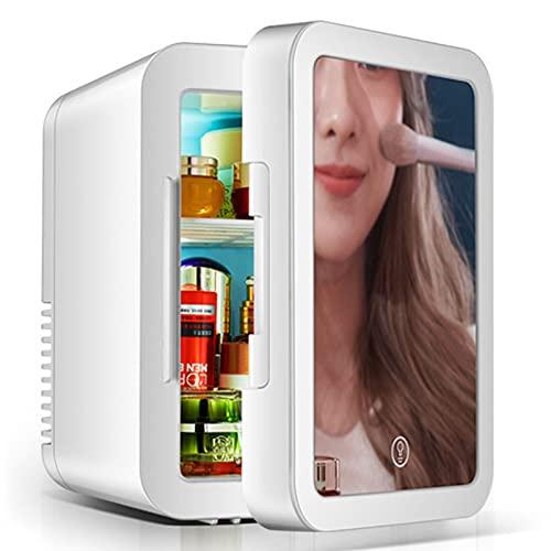 Zxqiang Mini Refrigerador De Belleza,5L Refrigerador Portátil Espejo con Led De Almacenamiento Cosméticos,2 En 1 para Refrigerador/Refrigerador De Coche para Dormitorio,Oficina