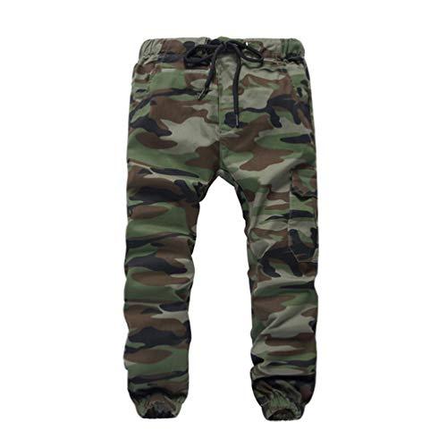 Lau's Pantalones Camuflaje niño Cintura Elastica - Pantalón Jogger niño - Pantalon de Cargo Loose fit Ejercito Verde 11-12 años