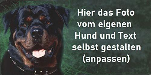 Schilderfeuerwehr Hundeschild mit Foto Bild Motiv von deinem eigenen Hund und Text Namen Spruch selbst gestalten ✓ Hundewarnschild ✓ Haustür, Wohnungstür oder Gartenzaun ✓ Blechschild