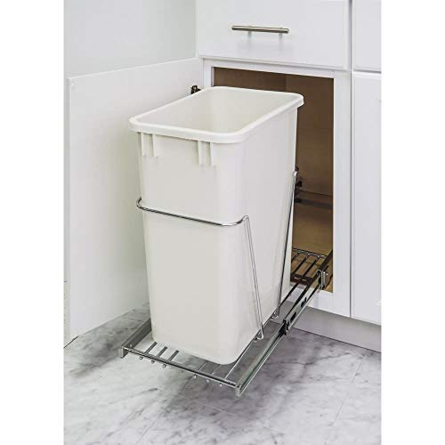 Hardware Resources Polished Chrome Pull Out Container - Sliding Under Sink Trash Can System for 35qt 50qt Trash Bins - Works with Hardware Resources Lids, Garbage Cans & Door Mounting Kits - 100lb Rated Slides