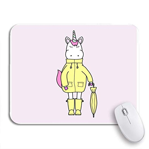 Gaming Mouse Pad Tier Einhorn in gelben Regenmantel und Stiefel Regenschirm Herbst rutschfeste Gummi Backing Computer Mousepad für Notebooks Maus Matten