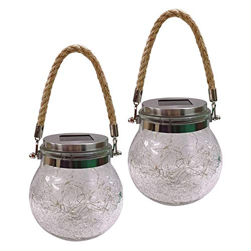 2 Pcs Solar Powered Outdoor Light Waterproof Crackle Glass Jar Lantern Hangable Table Lamp with Hemp Rope for Garden Yard Lawn
