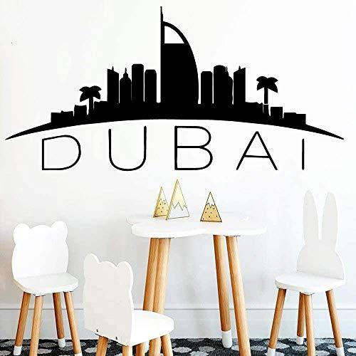 Muurstickers muurschilderingen Decals Fashion Dubai Kaart Home Ation voor Woonkamer Slaapkamer DIY Papier Huis Toegang 42X86cm