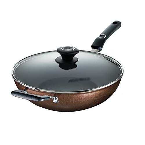 Wok Wok E Stir Fry Pans Domestica Leggero Patinata Wok Non Grassa Fume Wok (Color : Brown, Size : 34cm)