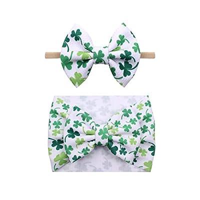St.Patrick Green Headband Turban Baby Girls St.Patrick Day Hair Band Bow JHSP20 (2 Pcs-Set B)