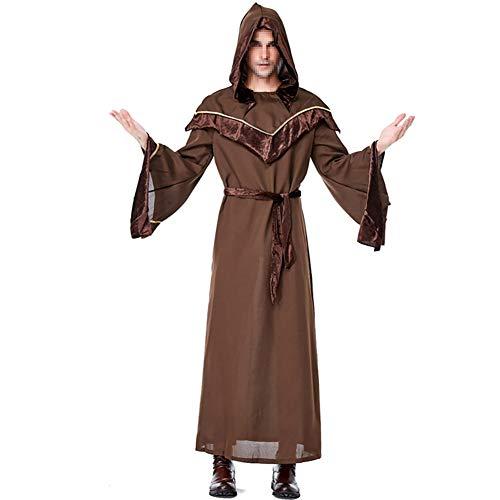 MISTYU religiöser Patenvater Männlicher Zauberer Anzug Halloween Cosplay Bar Dance Party Kostüm, Halloween Kostüme, enthält Mütze mit Overall und Gürtel
