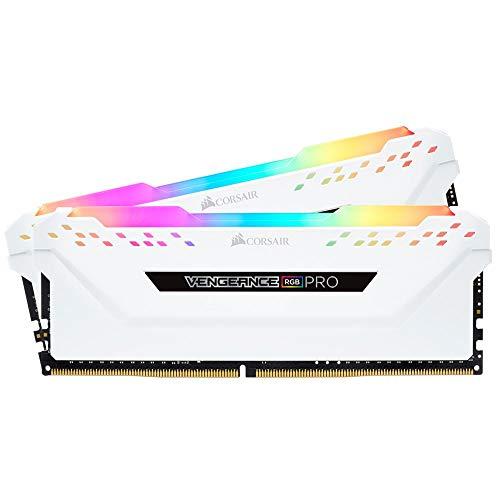Corsair Vengeance - Memoria da scrivania RGB Pro 16 GB (2 x 8 GB), DDR4 3600 (PC4-28800) C18, colore: Bianco