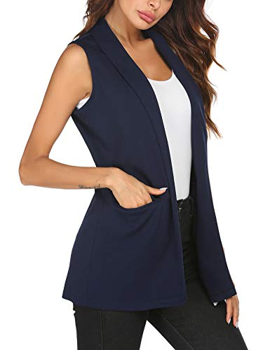 HOTLOOX Women Oversized Open Cardigans Vest Sleeveless Waistcoat Jacket Solid Color Blazer (Navy Blue, Large)