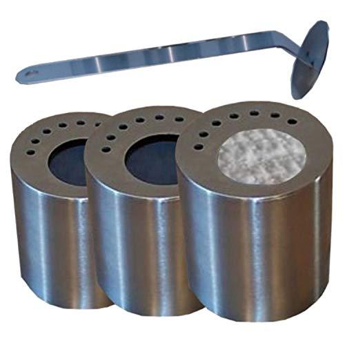 3 lege roestvrijstalen blikjes elk 0,5 l incl. spaarplaten + vlammenkiller + keramische inzetstukken.