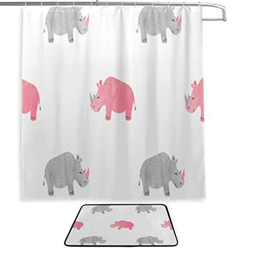 Bauernhaus Badezimmer Duschvorhang Nashorn Weiden auf der Wiese Duschvorhang für Mädchen Badeteppich & Duschvorhang 2 Set mit 12 Haken für Master-Badezimmer, Kinderbad, Gästebad