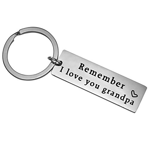 XYBAGS Fathers Day Keychain for Grandpa, Grandfather Birthday Christmas Key Chain from Granddaughter Grandson - Remember I Love You Grandpa