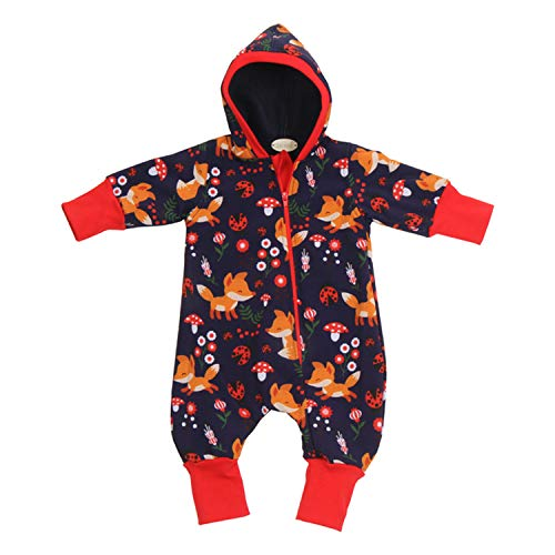 """Lilakind"""" Baby Overall Einteiler mit Kapuze Softshell Blau Rot Fuchs Gr. 104/110 - Made in Germany"""
