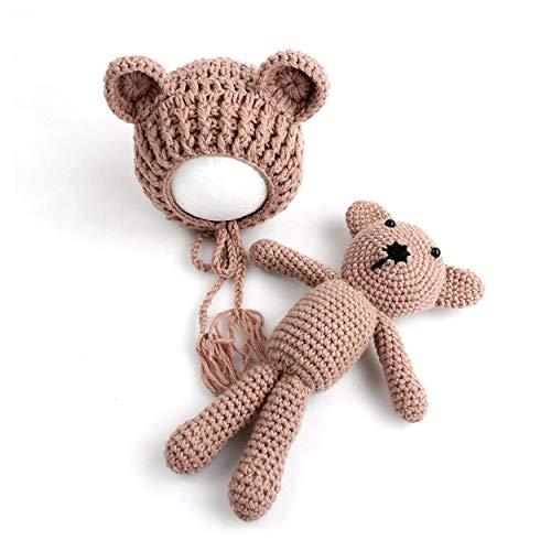 Lorenlli Bebé bebé tejido de punto Crochet Gorros Sombrero con muñeca Juguete Recién nacido Bebé niño niña Fotografía Proputación Traje Ropa Traje