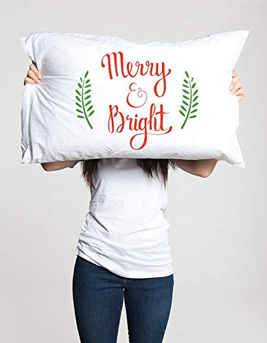 DaveBu57 - Funda de almohada para mamá o papá, diseño con texto en inglés 'Merry and Bright Pillow Case Idea for Mom Dad His Husband Boyfriend Men Merry Christmas Holiday Christmas Decor Bedding Pillowcase, 12x16