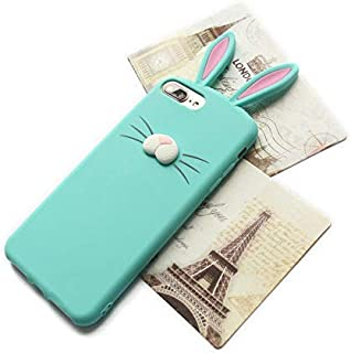 we3Dcell Cute Rabbit Bunny Ears 3D Nose Soft Silicone Case Cover for iPhone 5SE / 5S (Green)