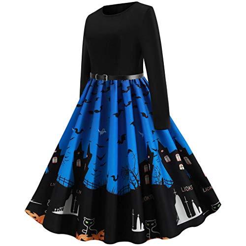 Timogee Frauen Halloween Partykleider Abendkleid Retro Vintage Kleid Eine Linie Kürbis Swing Dress Abend Party Prom Swing Dress Elegante Kleider