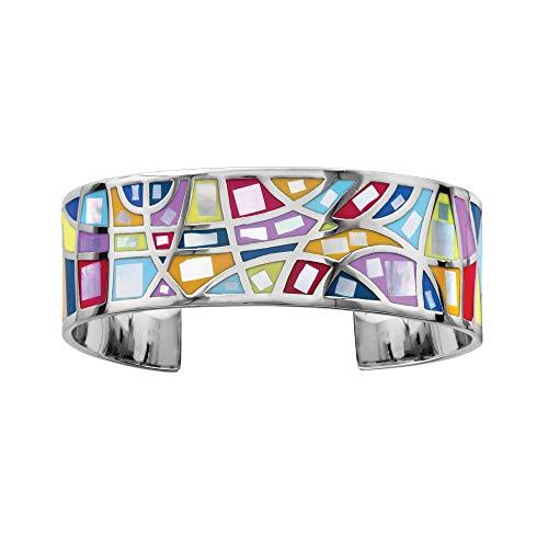 1001Bijoux–Braccialetto Acciaio Stella Mia colore pastello con madreperla diametro 59mm Interieur