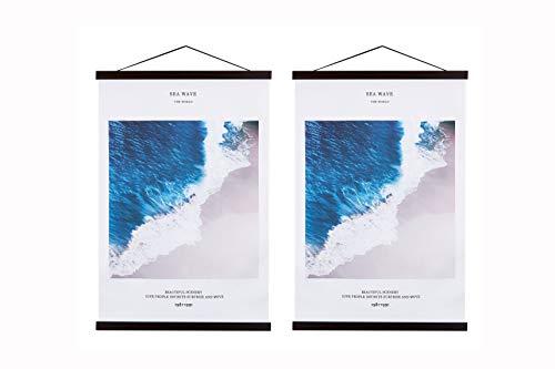 Benjia Perchas para marcos de póster, clip magnético grande, de madera, para colgar pósteres, para póster de 40,6 cm x 60,9 cm (40,6 cm, nogal, 2 paquetes