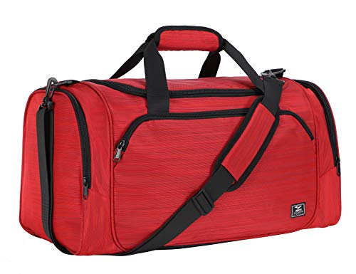 MIER 21 inch Sports Gym Bag with Wet Pocket Travel Duffel Bag for Men Women, Red