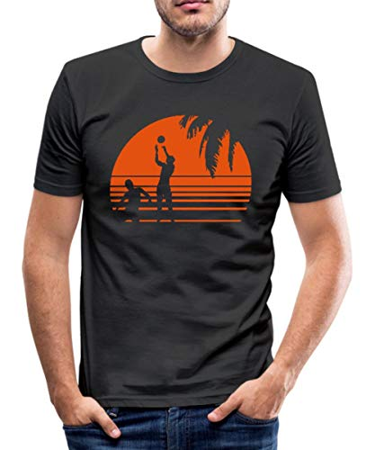 Beach Volleyball Männer Slim Fit T-Shirt, L, Schwarz