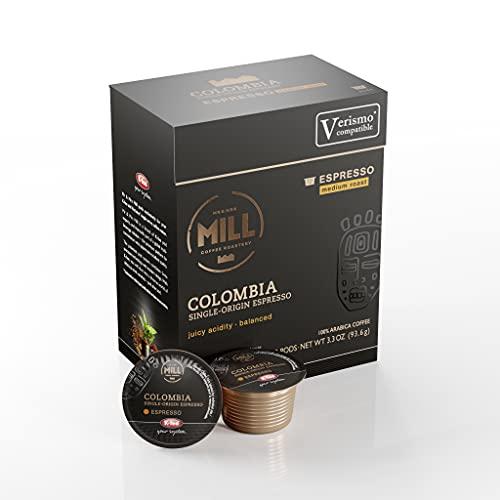 Mr and Mrs Mill Espresso Colombia Medium Roast Verismo / K-fee Compatible Single Serve Single Origin Coffee Pods 72 Count (6 boxes X 12 Pods)