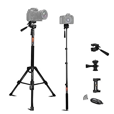 Tripod for Camera and Phone Monopod with Remote Action Camera Mount Adapter Small Flexible Travel Selfie Stick Tripod Stand Aluminum for DSLR Projector Camcorder, Smart Phone by BESNFOTO from Besnfoto Digital