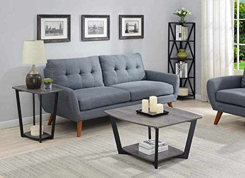 Convenience Concepts Graystone Square Coffee Table, Weathered Gray / Black Frame