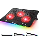Laptop Cooling Pad, Pccooler Rgb Laptop Cooling Stand with Touch Control Light Modes & 3 Angles Adjustable, Silent Laptop Cooler for 12-17 Inch Laptop