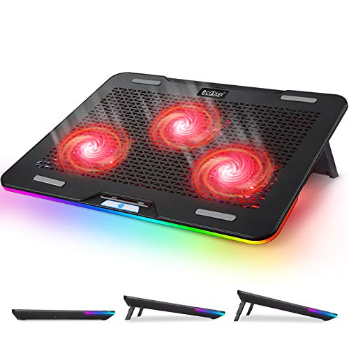 Pccooler Laptop Cooling Pad, RGB Laptop Cooling Stand for 12-17 Inch Gaming Laptop with 3 Powerful Quiet Red LED Fans & 3 Angles Adjustable - Touch Control Multiple Light Modes - Dual USB 2.0 Ports