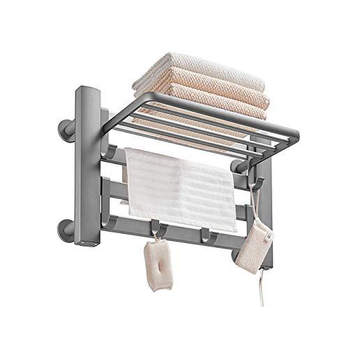 Toallero con Calefacción Eléctrica Calentador De Toallas Toallero De Aluminio Estante De...