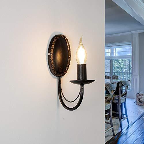 Elegante lampada da parete con candela Wioletta marrone scuro in metallo stile antico design rustico E14 ideale per camera da letto salotto