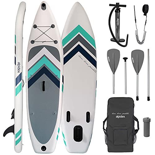 ALPIDEX Tabla Hinchable Surf Stand Up Paddle Board 305 x 76 x 15 cm ISUP Peso Máximo 110 kg Sup Ligero Estable Juego Completo, Color:Blanco
