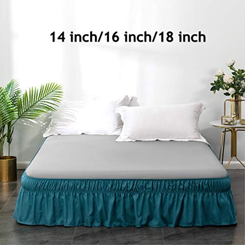 AYASW Bed Skirt 16 Inch Drop Dust Ruffle Three Fabric Sides...
