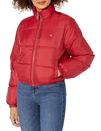 True Religion Damen Logo Puffer Long Sleeve Jacket Parka, blau, Medium