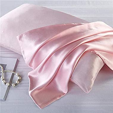 Luxbedding Satin Pillowcase Pillow Cases Standard Size, Cooling Satin Pillowcase for Hair and Skin, Silk Pillowcase 2 Pack -