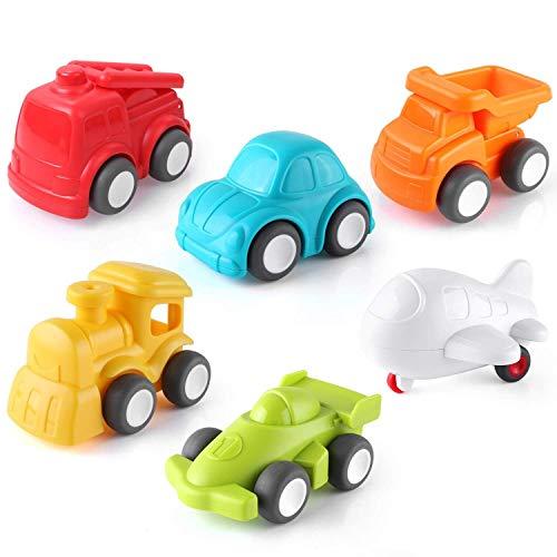 Pedy Spielzeugauto, 6 Pcs Kinder Auto Spielzeug, Push and Go Fahrzeugset, Reibungskraft Toy Cars Fahrzeuge Set für Kleinkinder Geschenk