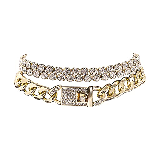 Bling Tennis Anklet Bracelet for Women Layered Link Chain Anklet Beach Shiny Rhinestone Ankle Jewelry (3-layer Gold)