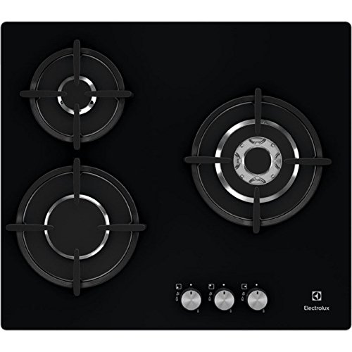 Electrolux EGT6633NOK Integrado Encimera de gas Negro hobs - Placa (Integrado, Encimera de gas, Cerámico, Negro, Vidrio, 1000 W)