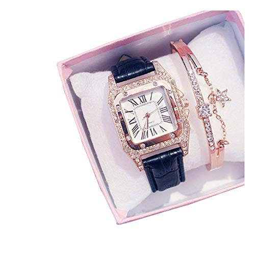 GPWDSN Relojes para Mujer con Juegos de Joyas Pulsera Reloj de Pulsera para Mujer Reloj para Mujer de Moda Vestido para niñas Movimiento de Cuarzo Correa de Cuero (Color: F)