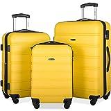 Merax 3 Pcs Luggage Set Expandable Hardside Lightweight Spinner Suitcase with TSA Lock [Upgraded Version] (yellow2019)