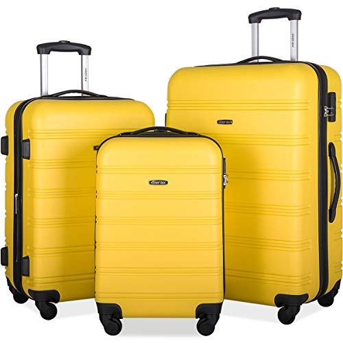 Merax Travelhouse Luggage Set 3 Piece Expandable Lightweight Spinner Suitcase (Yellow)