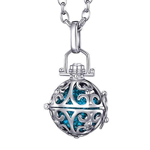 Morella® Damen Halskette Edelstahl 70 cm mit Ornament Anhänger und Klangkugel Zirkonia Petrol Ø 16 mm in Schmuckbeutel